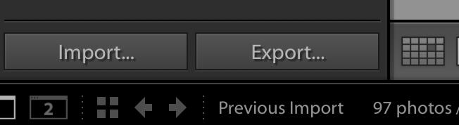 Lightroom Import & Export buttons