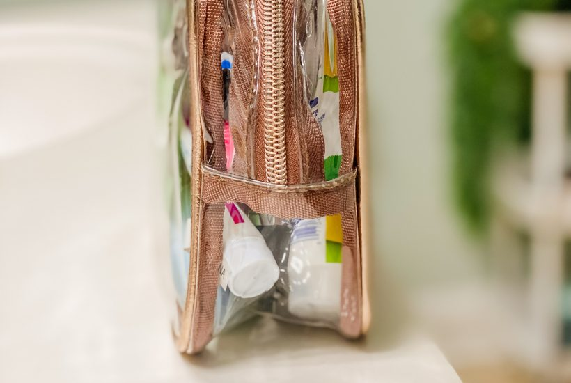 pretty rose gold clear transparent bag for travel