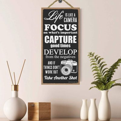 life is like a camera hanging wood sign - gifts for photographers