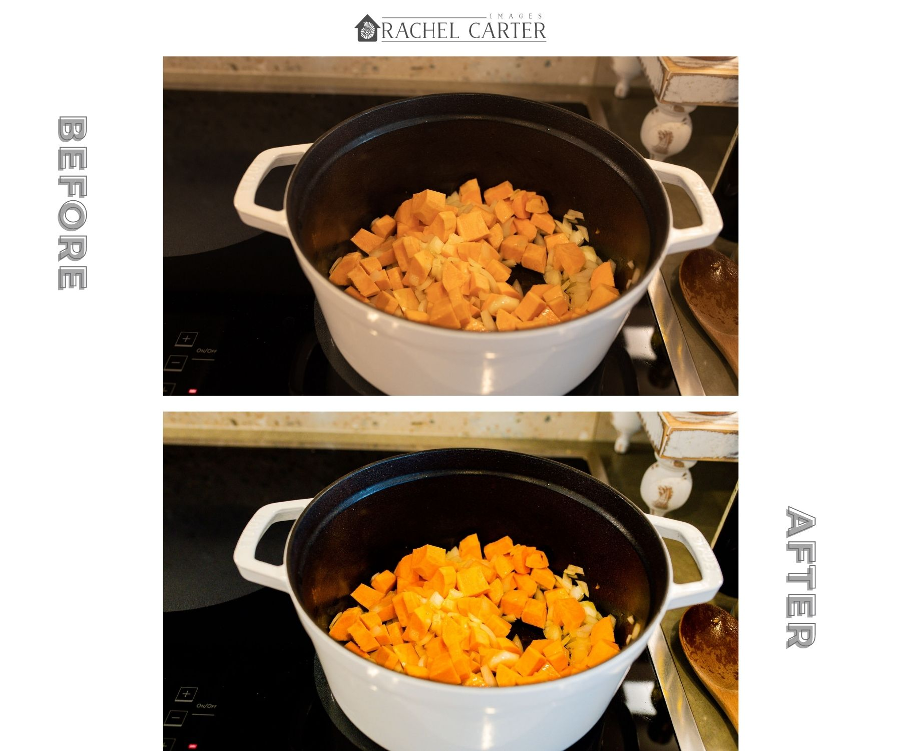 Onions & Sweet Potatoes for Chili - Food Photo Tips