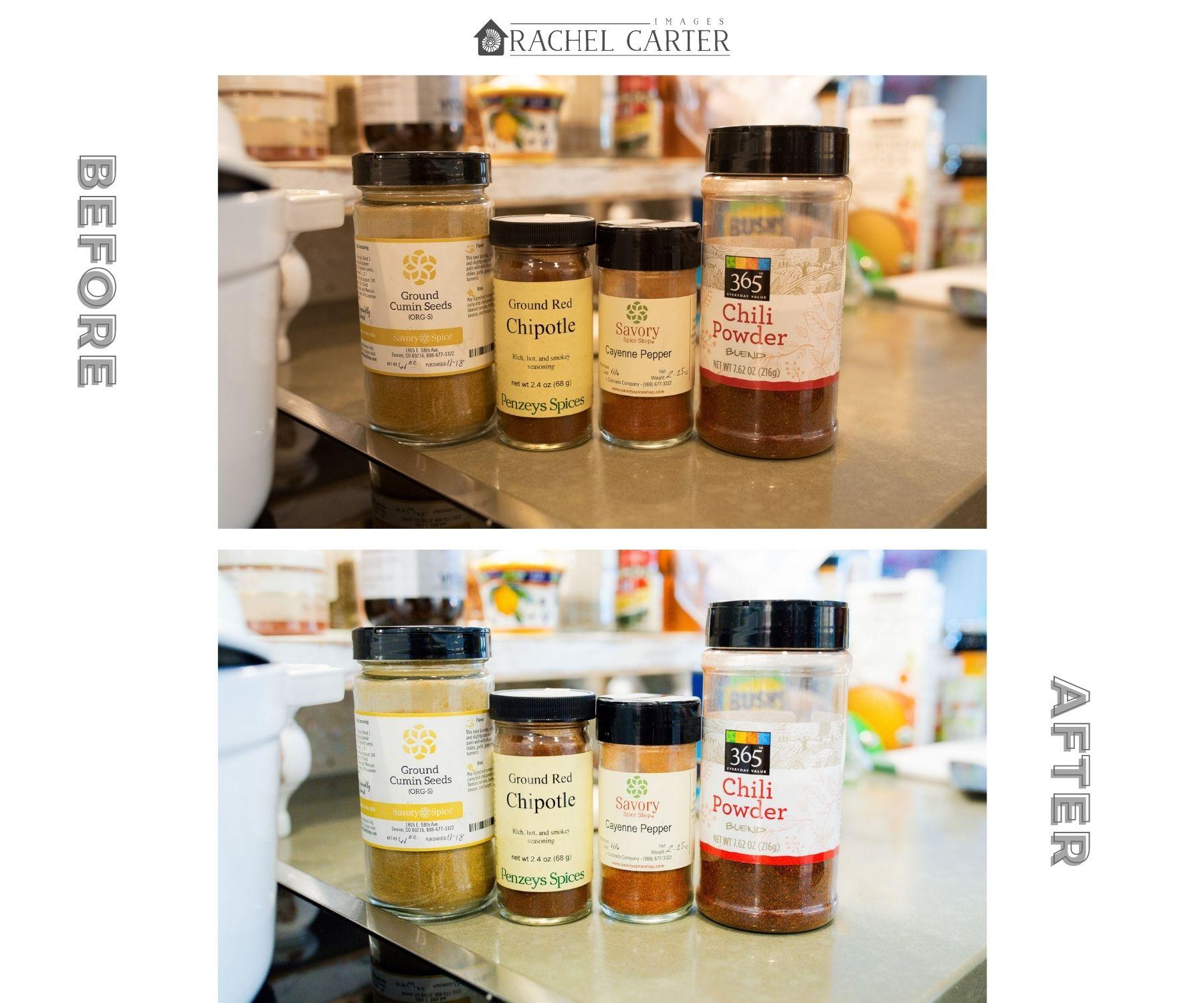 Spices for Sweet Potato Chili Lightroom Preset Comparison Photos - Rachel Carter Images