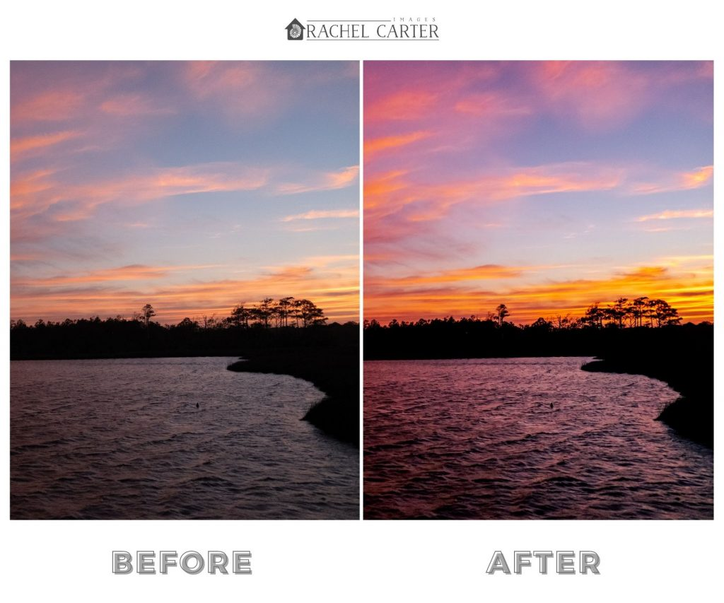 Dramatic Sky Sunset Lightroom Preset Vertical Comparison Photos - Rachel Carter Images